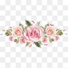 Pintado a mano de Rosas rosadas cluster
