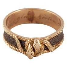 Antique Gold and Plaited Hair Double Snake Ring