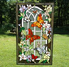 "20"" x 34"" Beautiful Large Stained Glass Window Panel Butterfly Garden"