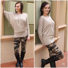 Another great patterned legging. Camo is in! Add these legging and a dolman top to your closet!    Leggings #121315-1 ---> $12    Dolman #121315-2 ---> $24    Call our boutique 702-906-1723, click the Shop Now button at the top of our Facebook page or use our easy jot form located in our Instagram Bio #apricotlanetownsquare #newarrivals #camo #leggings #camoleggings #dolman #fallfashion #fashion