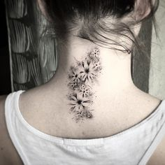 Dotwork Flowers Neck Tattoo | Best tattoo ideas & designs