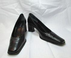 Rangoni  Black Leather Chunky Heel Dress Pumps Size US 8.5 AAA #Rangoni #PumpsClassics #WeartoWork