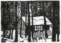 What could be more cozy than a cabin in the Yukon winter woods - linocut - John Steins, Canada