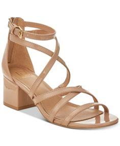 Material Girl Inez Block-Heel Sandals, Created for Macy's - Tan/Beige 8.5M