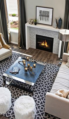 A touch of gold stands out by a fire's glow! Beautiful interior design tips for your family room from Candlelight Homes.