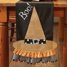 NEW Halloween Witch Hat Burlap Table Runner by Mud Pie
