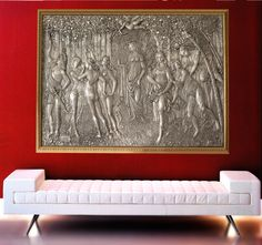 """Beautiful silver bas-relief of the """"Botticelli's Primavera"""" . This picture is ideal for a hall of a luxury hotel.  Made of silver plated, internal support in marble dust.  From the refined modeled and entirely handmade by italian master goldsmiths .  Unique piece limited edition.  Brunel Preziosi d'Autore - Italy"""