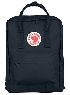 Fjallraven Kanken Backpack, Style No. 23510 (Navy). Originally designed for Swedish school children in 1978, the Classic KANKEN has become the most well-loved and iconic backpack. Made from durable Vinylon F fabric, which repels moisture better than any other synthetic fabric. Dimensions: 15 x 10.6 x 5.1 inches. Webbing: 100% polypropylene. Volume: 16 L.