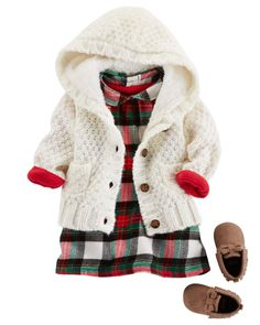 A quick and easy holiday outfit, this soft cotton bodysuit pairs perfectly under a flannel dress. When the temperatures start to drop, she'll love this cozy wool caridgan, equipped with a sherpa-lined hood. For extra style, add a pair of oh-so cute Moccasins.