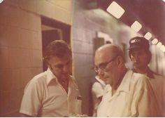 Sportservice boss Pat Redden, lst Base Beer Comm Supervisor Ed McGee & Kenny Farrell (John Studnicka Sr.'s nephew). August, 1977.