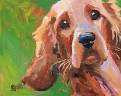Irish Setter Art Print of Original Acrylic Painting - Dog Paintings, Watercolor Paintings, Original Paintings, Golden Retriever Art, Golden Retrievers, Watercolor Animals, Dog Portraits, Dog Art, Irish
