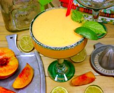 Nectarine-Basil #Margaritas - I just bought a box of nectarines from #Trader Joe's, can't wait to whip these up on #Father's Day!