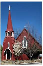 Red church in Sonora, CA, in the heart of the Mother Lode and historic Gold Country