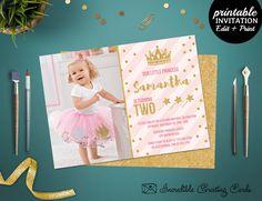 Printable Girl Birthday Little Princess Party Invitation Template. Little Princess Party invitation. Print Ready Two Girl Birthday Invite by HandmadeIncredible on Etsy
