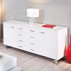 Arielle Sideboard in High Gloss White, Sideboards