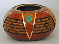 carved gourd bowl by Gloria Crane