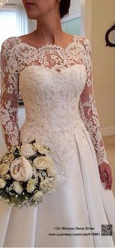 Aliexpress.com : Buy 2015 Elegant Vestido De Renda Lace Long Sleeve Wedding Dress Open Back A Line Bridal Gowns Plus Size Satin W3816 from Reliable dress ring suppliers on I Do Wedding Dress Store | Alibaba Group