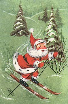 Vintage Christmas Card tree santa skiing