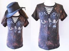 Bon Jovi starry sky Bleached  lace up shirt bleach t shirts We can custom like this picture with your own shirts or our t-shirts .