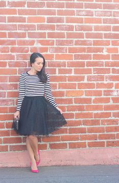 striped sweater, black polka dot tulle skirt, polka dot clutch, pink suede pumps, petite outfits, tulle skirts, petite fashion - click the photo for outfit details!