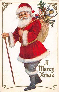 SANTA CLAUS Merry Christmas Holiday Postcard c1910 WALKING STICK Toys 541