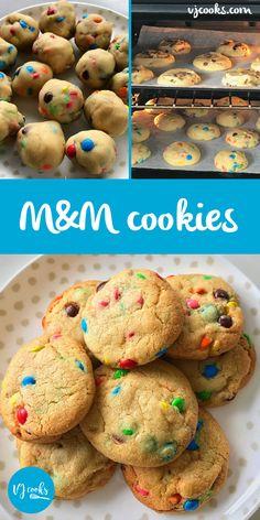 Easy big batch M&M cookies - Recipe by VJ cooks - Plus Video Crispy Cookies, Chocolate Cookies, Chocolate Recipes, My Recipes, Sweet Recipes, Cookie Recipes, Dessert Recipes, Desserts, Cookies