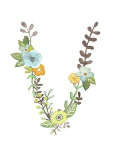 A lovely little floral interpretation of the letter K. This is a reproduction of my original, hand painted illustration. It is professionally printed on high quality white linen paper. Choose from an 8 x 10 or 11 x 14 print. Alphabet Art, Letter Art, Typography Prints, Lettering Design, Imagenes Free, Initial Art, Flower Letters, Floral Prints, Art Prints
