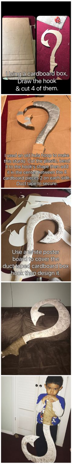 DIY Maui's magical fish hook using a cardboard box. I already have all the needed materials at home so I only spent $2 to make it.   You will need : Cardboard box Duct tape Box cutter White poster (from dollar store) Brown marker String ( from dollar store)