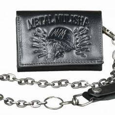 Show off your Metal Mulisha pride with this wallet. Tri-fold interior snap chain wallet with debossed logo on front and interior Antique silver hardware, 100% leather  #metal #mulisha #metalmulisha #leather #skul #chain #quality #fashion #gift #forhim #Christmas #wallet #black