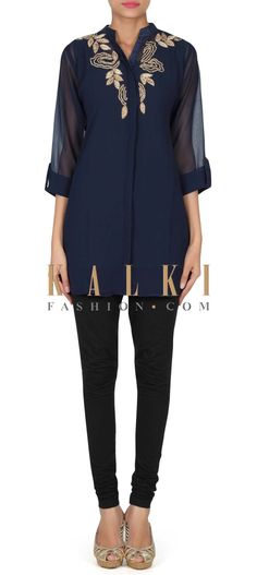 007916e35ff Navy blue kurti adorn in resham and kundan embroidery only on Kalki