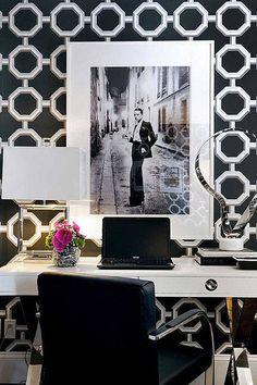 Decorate your workspace with a bold wallpaper.    - HarpersBAZAAR.com