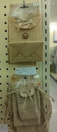 Burlap bags from Hobby Lobby. How about some cute buttons in white or Tiffany blue on these?
