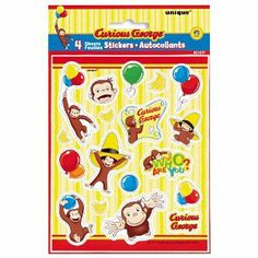 "Curious George Stickers by Unique Industries, Inc.. $2.94. Each package of Curious George Stickers contains 4 sheets of 18 stickers measuring 5"" x 6 1/4"". Use stickers to add a special touch to notes and invitations, gifts, and treat bags or give them out as party favors. Stickers can also be collected and traded or given as a reward."