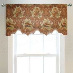 Scalloped Custom Valance in Bird Toile Fabric Small Window Curtains, Hanging Curtains, Valance Curtains, Window Valances, Kitchen Curtains, Custom Valances, Custom Curtains, Valance Patterns, Valance Ideas