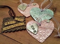 """""""Mother's Day"""" hearts & chocolate too - by Artist: Chez Watkins - made with Makin's Clay® no bake, air dry polymer clay - http://www.craftcellar.co.uk/contents/en-uk/d240_polymer_clay_gallery.html#.VsCRDcenRzQ"""