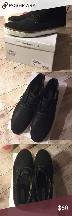 Steve Madden Fedder Black Suede Shoes Men's Steve Madden • Black Suede • Fedder Shoes • Size 12. Brand New, never worn. Comes In original box / packaging. Purchased at Macy's Steve Madden Shoes Chukka Boots