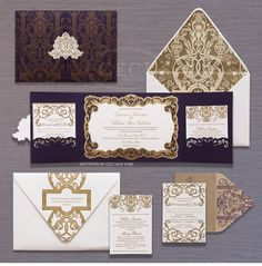 Luxury Wedding Invitations by Ceci New York - Be inspired by Ekaterina & Liam's dreamy wedding in San Francisco #ceci #new #york #ornate #purple #gold #wedding #invitations #custom #two #panel #pocket #wrap #mounted #emblem #luxury #couture