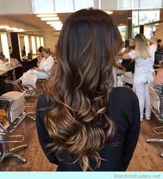 Rich and sultry brunette long locks with caramel highlights
