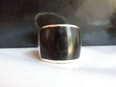 Wide Bold Vintage Sterling Silver Onyx Ring