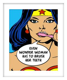 "Kids Bathroom Decor, Wonder Woman, Superhero, Brush Your Teeth, ""Wonder Woman's Good Advice"", Gallery Quality Art Print"