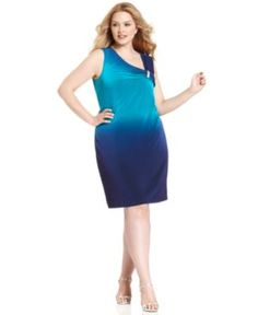 Calvin Klein Plus Size Dress, Sleeveless Ombre Cocktail Dress