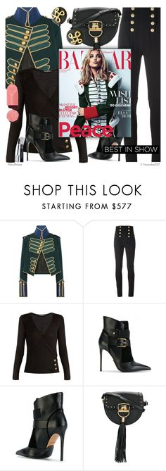 """""""Harper's Bazaar - Military Style Jacket"""" by octobermaze ❤ liked on Polyvore featuring Burberry, Balmain and Chanel"""