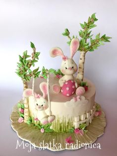 Easter cake - Cake by Branka Vukcevic rabbit cake cute bunny Easter cake Bunny Birthday Cake, Easter Bunny Cake, Easter Cookies, Easter Treats, Bunny Cakes, Fondant Cakes, Cupcake Cakes, Easter Cake Fondant, Rodjendanske Torte