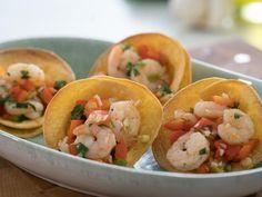 Get Garlicky Shrimp in Crispy Tortilla Cups Recipe from Food Network