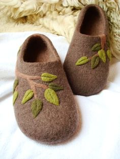Felt is wool so where it comes from is important I do not wear wool. Felted slippers in brown with spring leaves -These slippers can be can custom make any size.  Grazim, Etsy
