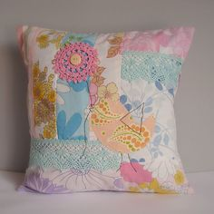 Cushion patchwork vintage fabric bird wuth flower brights1 by Roxy Creations, via Flickr