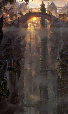 46 Ideas For Fantasy Landscape Art Castles Rpg Fantasy City, Fantasy Places, Fantasy Kunst, Fantasy World, Fantasy Concept Art, Fantasy Artwork, Landscape Artwork, Fantasy Landscape, Landscape Photos