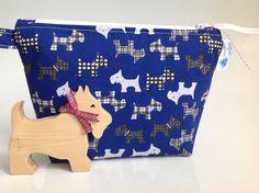 Blue Scottie Dog Fabric Cosmetic Purse Handmade in by sewmoira