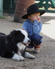 Little cowboy with his best friend.a Border Collie Cowboy Baby, Little Cowboy, Cowboy Cowboy, Camo Baby, Cowboy Pics, Cowboy Boots, Animals For Kids, Animals And Pets, Baby Animals