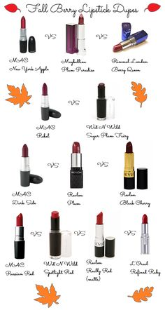 Fall Lipstick Colors- MAC Dupes! Berry shades. We all need a good lip for Fall! #dupe #dupes #lipstickdupe www.lipstickdupe.com